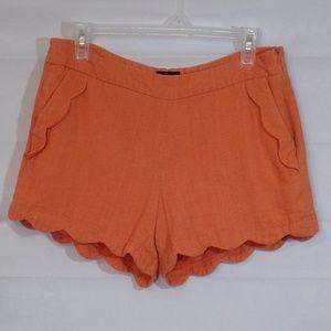 Cynthia Rowley Size 8 Orange Mini Shorts Scalloped